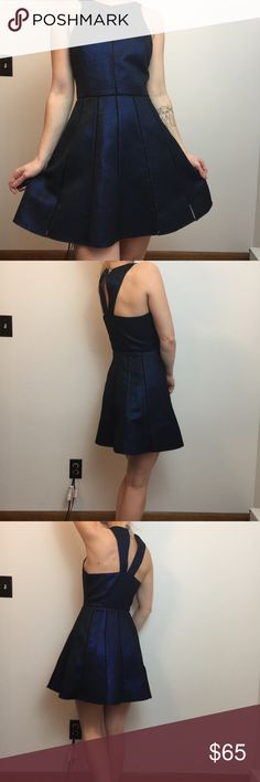 Parker Blue Black Sleeveless A-Line Skater Dress Parker Dress Lined and size extra small. Parker Dresses