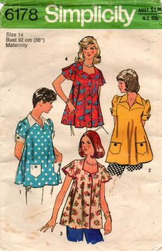 Simplicity 6178 Misses Maternity Tops Sewing Pattern, Size Bust 34 by DawnsDesignBoutique on Etsy Maternity Dress Pattern, Maternity Sewing Patterns, Maternity Wear, Maternity Tops, Maternity Fashion, Clothing Patterns, Maternity Clothing, Vintage Outfits, Vintage Fashion