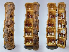 Die Stamm-bar ist sowohl eine hölzerne Skulptur als auch ein natürliches Lifes. The Stamm-bar is both a wooden sculpture and a natural lifestyle piece of furniture that fits just as well in a cozy l Driftwood Furniture, Log Furniture, Furniture Projects, Diy Home Bar, Diy Home Decor, Wooden Projects, Wood Crafts, Chainsaw Wood Carving, Wood Creations
