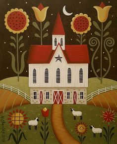 Field Of Flowers Print By Mary Charles Folk Art Painting Star Barn