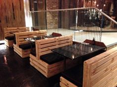 some pictures for you to start your own business you see these pallet restaurant furniture project. You can organize your restaurant in different styles and Coaster Furniture, Cafe Furniture, Restaurant Furniture, Diy Pallet Furniture, Rustic Furniture, Furniture Ideas, Plywood Furniture, Rustic Chair, Primitive Furniture