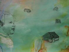 Traces of my youth I  Drawing on a background of acrylic paint.  60x50cm