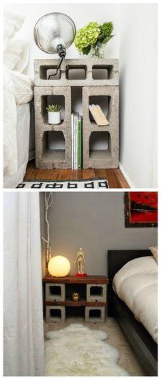 DIY Mesita de noche con bloques de hormigón.:
