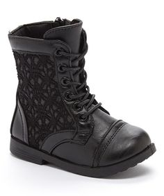 Another great find on #zulily! Black Crochet Panel Boot #zulilyfinds