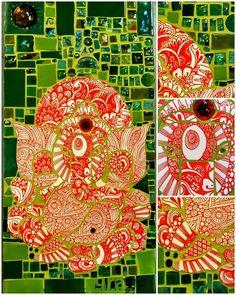 Ganesha. . Mosaico hecho con azulejos y vitrofusion