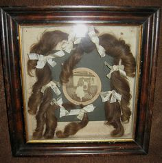 ANTIQUE VICTORIAN MOURNING MEMORIAL HAIR SHADOW BOX WITH PICTURE AND LONG CURLS