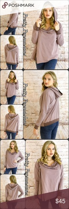 """NWT Mauve Hooded Long Sleeve Activewear Jacket NWT Mauve Hooded Long Sleeve Jacket   Available in S, M, L Measurements taken from a small  Length: 28"""" Bust: 40"""" Waist: 38""""  100% Cotton  Features • button side closure • slight cowl neck style/draped neckline  • long sleeves • hooded • relaxed, easy fit • comfy, breathable material   Bundle discounts available  No pp or trades  Item # 1/2012080450MHJ hooded activewear jacket long sleeve mauve Pretty Persuasions Jackets & Coats"""