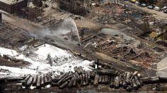 Lac-Megantic. 8 juillet 2013. Les restes du centre-ville. Une ville et une communauté détruite suite au déraillement du train de la mort.