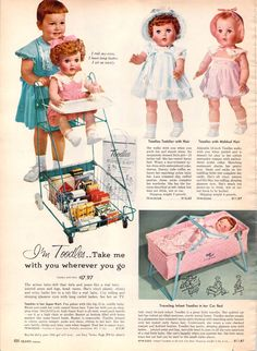 1959 Toodles ad from Sears Catalog Z  //I had the one in the grocery cart and I LOVED that doll.//