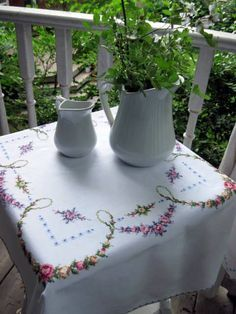 Embroidered Linen Tablecloth, Vintage, Cross Stitch, Romantic Home, Cottage…