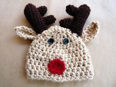 Newborn Reindeer Hat Rudolph Red Nosed by LittleMommaBoutique, $30.00