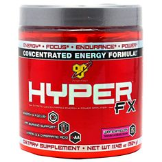 BSN Hyper-FX (Prime Fitness Nutrition)   HYPERFX™ takes energized pre-training supplementation one giant step further by combining CarnoSyn® and betaine with PEAK ATP®, which help to support the anaerobic working capacity of muscle tissue as well as strength, power and endurance, all the while further supporting the resistance to muscular fatigue without the inclusion of creatine.