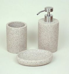 Desert Sand Stone 3pc Bathroom Accessory Set (Tumbler, Soap Dish & Dispenser)