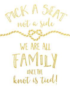 Pick a Seat Wedding Sign
