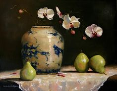 'Orchids with Pears' by North Carolina-based American artist Paula B. Holtzclaw. Oil, 16 x 20 in. Click toenlarge