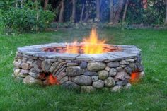 Stone Fire pit with holes at the bottom to allow for more oxygen in, and to keep your feet warm :)