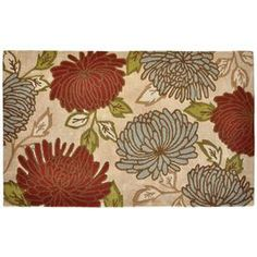 LOWES allen + roth 60 Inches X 96 Inches Rectangular Cream/Beige/Almond Floral Polyester Area Rug  Looks better in person.  SUPER SOFT!  Guest room?