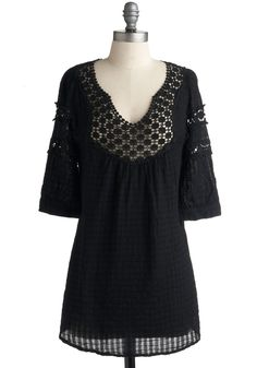 Houseboat Tunic in Black - Black, Eyelet, Lace, Casual, Long, Boho, Cotton