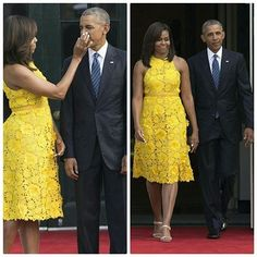 There are different ways to say I Love You! Lace Dress Styles, African Lace Dresses, Latest African Fashion Dresses, African Dresses For Women, African Print Fashion, African Attire, African Wear, African Women, Michelle Obama Fashion