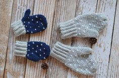Snow Crochet Mittens | AllFreeCrochet.com ~ unisex - men, women or children ~ FREE - CROCHET