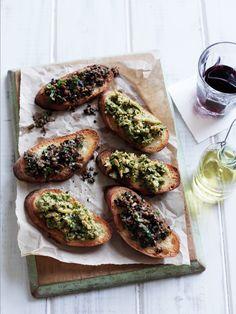 Bruschetta w/ Sautéed Mushroom + Green-Olive Tapenade // More Quick Appetizers: http://www.foodandwine.com/slideshows/quick-appetizers #foodandwine