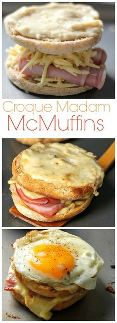 OMG these are amazing! Croque Madame McMuffins - Gooey cheese, brown butter sauce, black forrest ham, and a fried egg! (Submarine Sandwich Recipes)