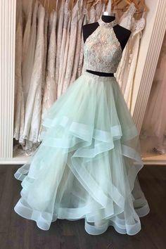 Halter Beaded Two-Piece Ruffled Long Pom Dress, Evening