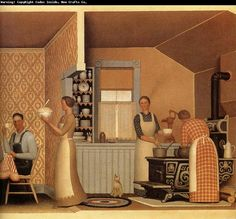 The wildly undervalued artist Grant Wood so much more than American Gothic. 'Dinner for the Threshers' Harlem Renaissance, American Realism, American Artists, Grant Wood Paintings, Art Paintings, Artist Grants, Oil Painting Pictures, Art Deco, American Gothic