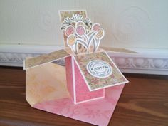 Card in a box using Sizzix stamp and die set and Stampin Up! Envelope punch board created envelope