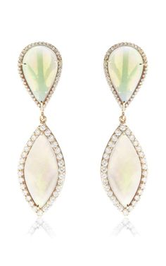 18K Rose Gold, Crystal Opal and Diamond Drop Earrings by Kimberly Mcdonald