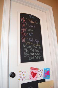 Chalkboard Paint on Pantry Door for Family Calendar