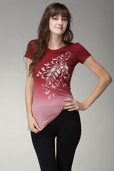 Motochic Feathers & Lace Burgandy Ombre. Round neck, soft cotton, ivory lace trim. So pretty on!