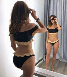 9041e6138e Women - Two Tune Off Shoulder Ruffle Bikini Set – tycgal Swimsuits For  Curves
