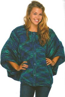 """Button-Up Cover-Up"" Designed by Doreen L. Marquart. Knit with ""Oregon Worsted Stripe"" by Interlacements."