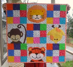 Zoe's Jungle Quilt by skovy - from Quilts, Bibs, Blankies. Quilting Projects, Sewing Projects, Cot Quilt, Applique Quilt Patterns, Baby Quilts, Children's Quilts, Animal Quilts, Panel Quilts, Patch Quilt