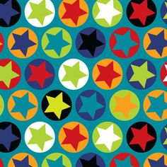 """50cm Stretch Jersey """"Colourfull Stars on petrol"""" Sweden Design patterned fabric op Etsy, 12,50€"""
