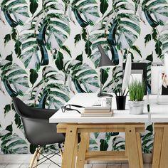Ταπετσαρία τοίχου με φύλλα φιλόδεντρου. Η φύση στο σπίτι σας με τροπική vintage διακόσμηση! #vintagewallpaper #walldecoration #τροπικήδιακόσμηση #φύλλαφιλόδεντρου #ταπετσαρίεςτοίχου