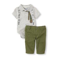 tie polo bodysuit & pants set.. #bigbabybasketsweeps