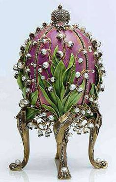 """Oeuf Fabergé """"Lilies of the Valley"""" avec Perles Fines"""