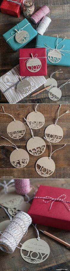 DIY Holiday Gift Tags by Lia Griffith. Kraft cardstock tages will stand out against plain wrapping paper and bring old-world charm! For kraft cardstock, bakers twine and other craft supplies visit www.cardstockshop.com.