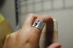 Rustic Hammered Wide Band Ring  Sterling by HeliconiaJewelry, $45.00