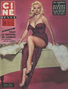 Diana Dors on the cover of Cine Revue magazine, 1956, Belgium.