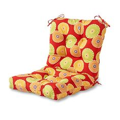 Greendale Home Fashions 42 x 21 in. Outdoor Seat/Back Chair Cushion Flowers on Red Custom Outdoor Cushions, Outdoor Lounge Chair Cushions, Outdoor Dining Chairs, Outdoor Living, Outdoor Furniture, Cushions Online, Corner Chair, Perfect Pillow, Cushion Fabric