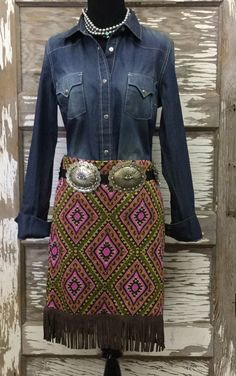 Cowgirl Justice Fall 2015 India Tribal Skirt with Fringe! http://www.cowgirlkim.com/cowgirl-justice-fall-2015-india-tribal-skirt-with-fringe.html
