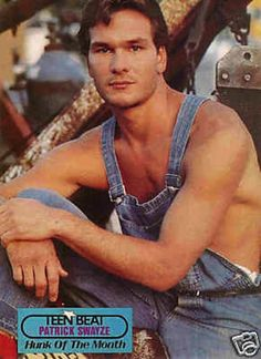 Patrick Swayze chooses the ever popular shirtless look. | 21 Pics Of People Wearing Horrifically Ugly Overalls (I'd like to know what is wrong with this look. Ha)