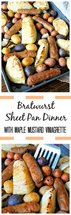 Sausage and Potato Sheet Pan Dinner: Bratwurst, potatoes, onions, and cabbage are roasted with a mustard maple vinaigrette for an easy, flavorful one pan meal.