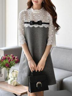 Light Gray 3/4 Sleeve A-line Guipure Paneled Mini Dress - StyleWe.com // Надежда Ратникова