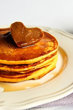 pumpkin pancakes with cinnamon butter.
