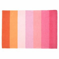 Land Of Nod Pink Broad Stripe Rug.  I like this rug as the pattern reminds me of ice cream.  Gee, candy and ice cream seems to be my theme......decorating is making me hungry!