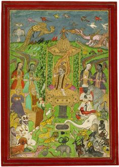 Solomon enthroned with Peris, Aaṣaf, jinns, animals and birds India (1800s)